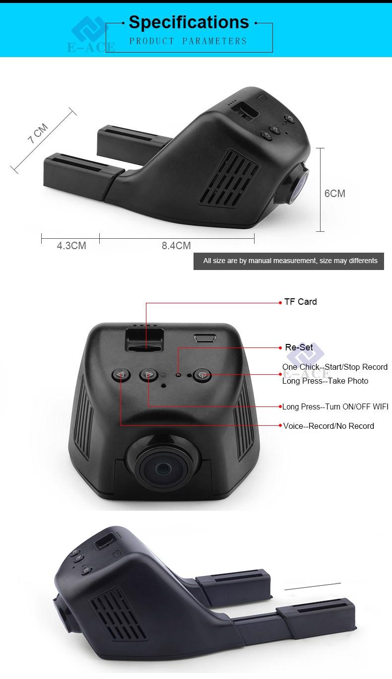 E-ACE Car Dvr WIFI DVRs Dual Camera Lens Registrator Dashcam Digital Video Recorder Camcorder Full HD 1080P 30FPS Night Version 25