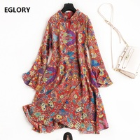 100 National Silk Dress Spring Summer Lux Women Vintage National Style Print Long Sleeve Dress Casual