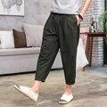 Verano de Los Hombres Delgados Sueltos Casual Pantalones de Moda de Hiphop Masculinos Pantalones Harem de Lino de Alta Calidad de Algodón Para Hombre Pantalones