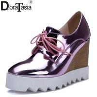Mới nhất Phụ Nữ Patent Leather Cao Gót Nêm Vàng Bạc Nền Tảng Giày Nữ 2016 Cao gót Màu Hồng Chất Lượng Hàng Đầu Bơm