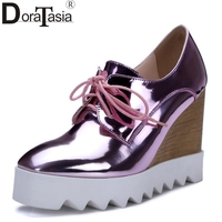 Newest Women Patent Leather High Heel Wedges Gold Silver Platform Shoes Woman 2016 Pink High Heeled