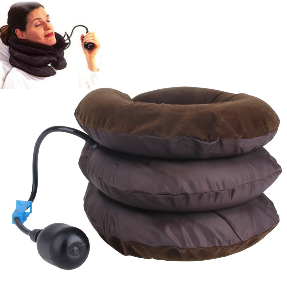 Neck Traction Massage Inflation Cervical Collar Health Care Massager Soft Brace Headache Back Shoulder Neck Pain Relief high end health care neck cervical traction ems therapy massage collar infrared heating magnet vibration massager pain relief