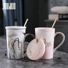 JOUDOO tazas de cerámica con patrón de mármol de lujo, chapado en oro, regalo para pareja, taza de café, desayuno, creativa, 35