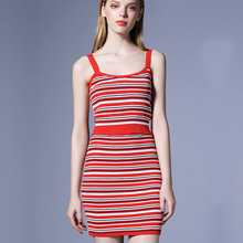 2017 new brand runway women autumn 2 piece suits top quality striped knitting spaghetti stsrap short vest and mini skirts