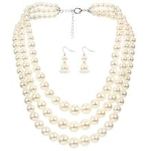 layered simulated pearl jewelry set necklace and earrings ethiopian wedding sieraden sets