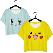 Pocket Monsters Cosplay Pikachu Squirtle Pokemon Camiseta suelta de Manga Corta Camiseta Atractiva de Las Mujeres Camiseta Ocasional