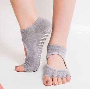 Для женщин хлопок половина пять пальцев носки нескользящие одноцветное Цвет половина носком противоскользящие носки-скользят лодыжки прочный открытые носки
