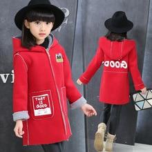 Girls Winter Coat New 2017 Fashion Baby Girls Wool blazer Coat Children Personalized Cartoon Pattern Windbreaker For 5-13 Years
