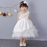 Baby Girl one shoulder Baptism Dresses Girls Birthday Outfits Christening wedding Girl Party Wear Pearls Tutu Dress + Hair hoop