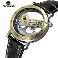 FORSINING Men S Unique New Design Luxury Automatic Movement Popular Style Genuine Leather Strap Skeleton Wristwatch