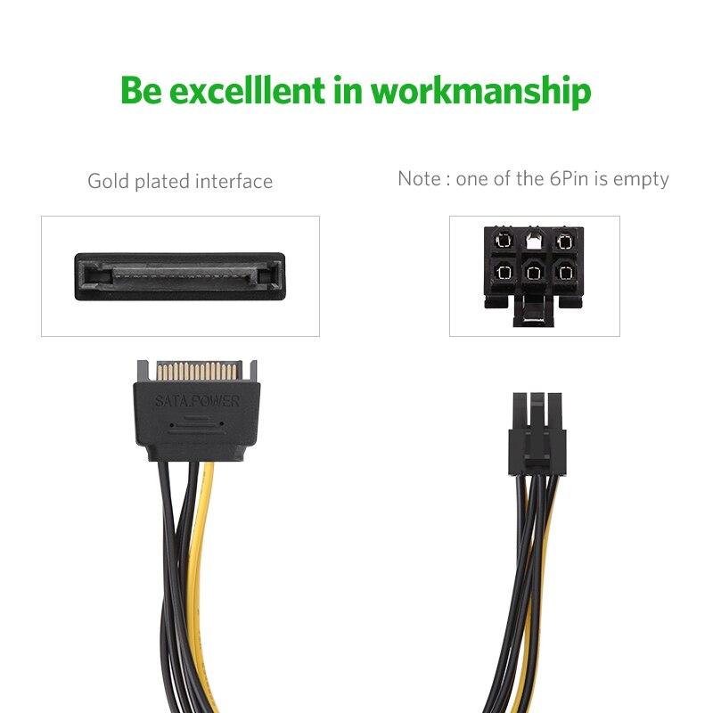 Ugreen SATA Power Cable 15 Pin to 6 Pin PCI Express PCI-E Sata Converter Video