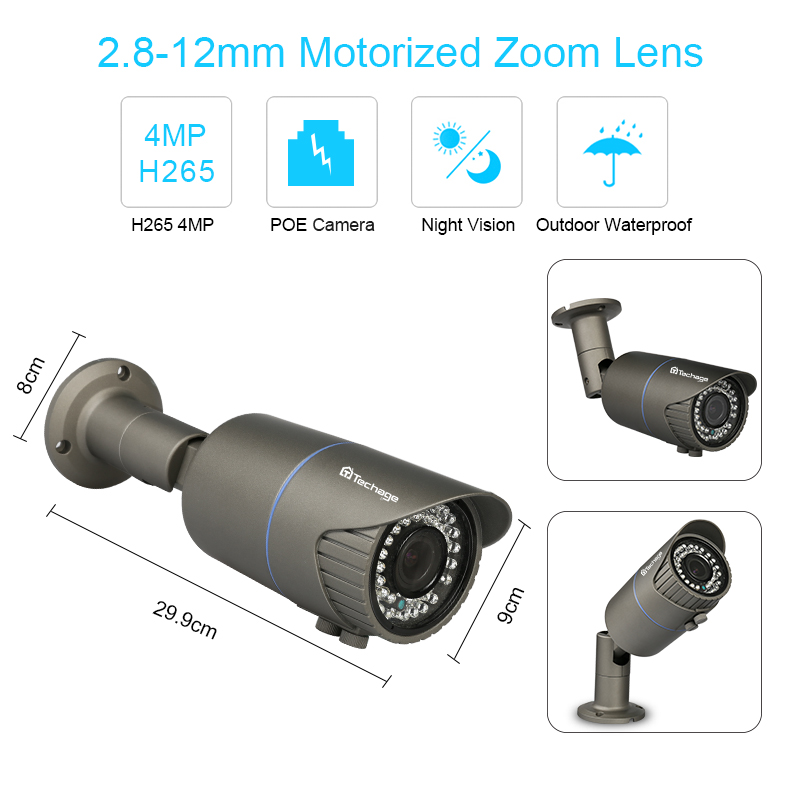 Techage H.265 4MP Security Camera System 8CH 4MP POE NVR 2.8-12mm Motorized Auto Zoom Lens IP Camera Video POE Surveillance Set