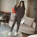 Mulheres Terno de Inverno Casual Sportswear Calças Moletom Com Capuz Solto Duas Peças Femininas Lanterna Longo-luva Pockets Inverno Quente Terno Feminino 006
