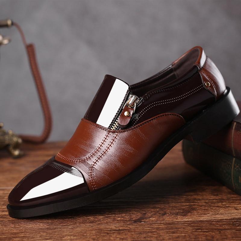 Ocasional Casamento Couro Brogues Luxo brown Oxford De Toe Formais Black Marca 48 Escritório Do Apontou Masculino Sapato Zip Homens Plus Vestido Size Sapatos Negócio 6OTgWcqU