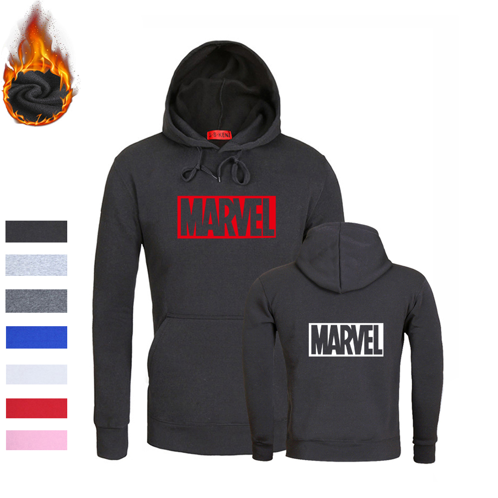 MARVEL Man/Women Hoodies Printing Brand Sweatshirts Comic Letter Printed Casual Black High Quality Kpop Fortnite Mens Clothing