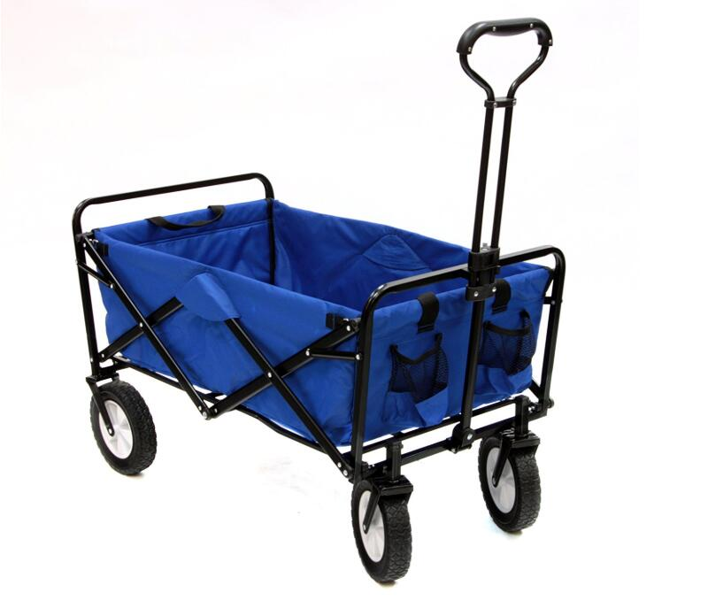 Collapsible Folding Outdoor Utility Wagon For Camping Beach Sports Foldable Wagon Trolley Cart With Wheels Garden Shopping Carts