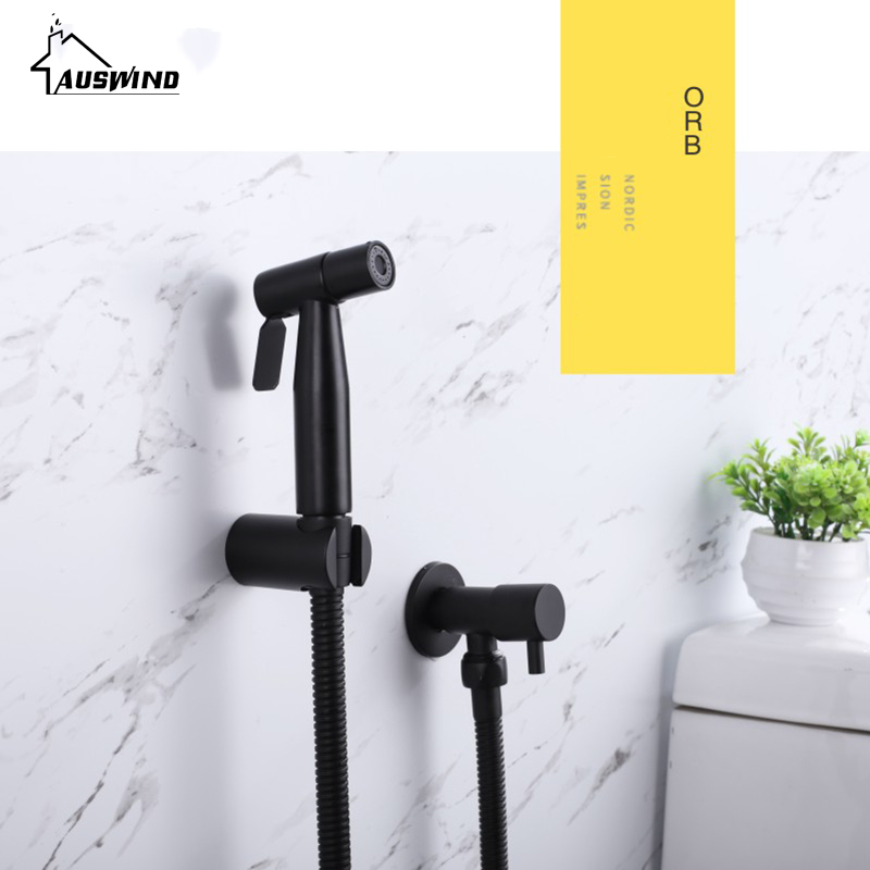 цена на 304 stainless steel black shower sprayer wash hand ass black toilet spray gun partner simple handheld bidet
