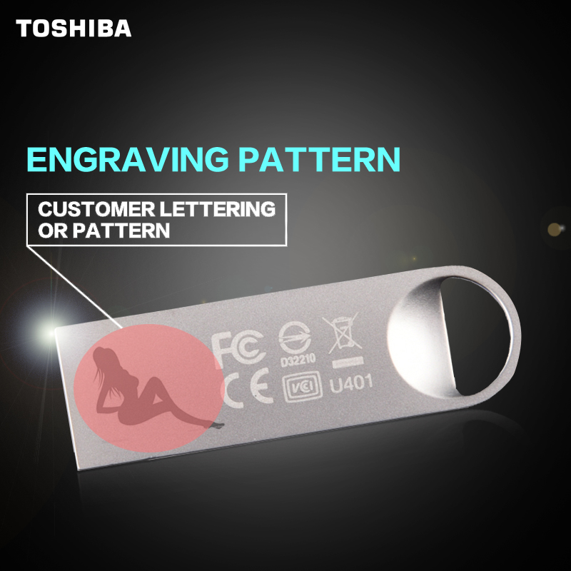 TOSHIBA USB Flash Drive Disk 8G 16G 32G USB2.0 Metal Super Mini Pen Custom lettering pattern Drive Tiny Pendrive Memory Stick ...