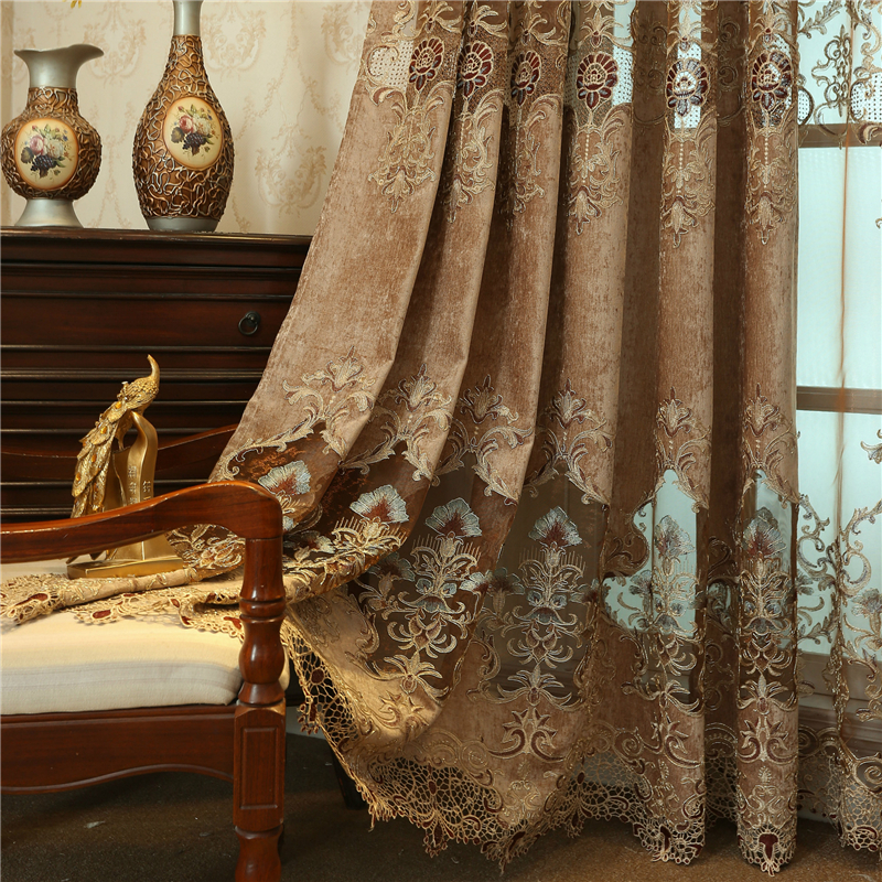 Brown custom luxury European embroidery curtains for Living Room classic villa high end curtains for Bedroom Kitchen Windows in Curtains from Home Garden