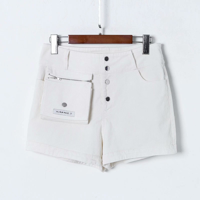 Afneembare Zip Pocket Sexy Shorts Vrouwen Hoge Stretch Corduroy Korte Broek Vrouwen Hoge Taille Pure White Hot Broek Vrouwelijke