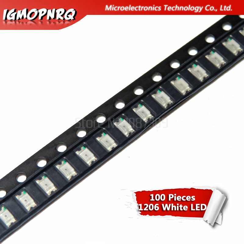 100pcs White 1206 SMD LED Diodes Light 3216