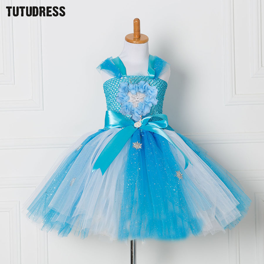 Princess Girls Elsa Tutu Dress For Children Tulle Birthday Party Dresses Blue Flower Kids Girl Christmas Halloween Dress Costume fancy girl mermai ariel dress pink princess tutu dress baby girl birthday party tulle dresses kids cosplay halloween costume