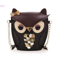 Hot Bolsas Fashion 2015 Women Synthetic Leather Bag Lady Splicing Color Owl Pattern Holder Cover Chain Bags Wholesale VY17782