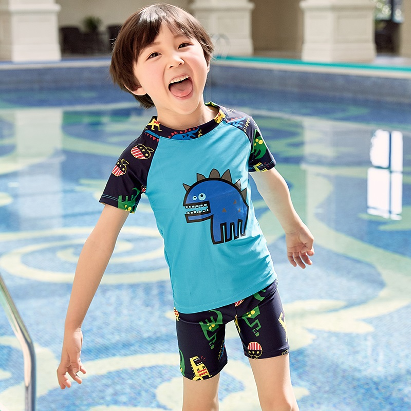 Children's Swimming Suit Boys Sunscreen Dried Split Swimming Suit Boys'Primary School Children's Swimming Trousers Baby Hot Spri