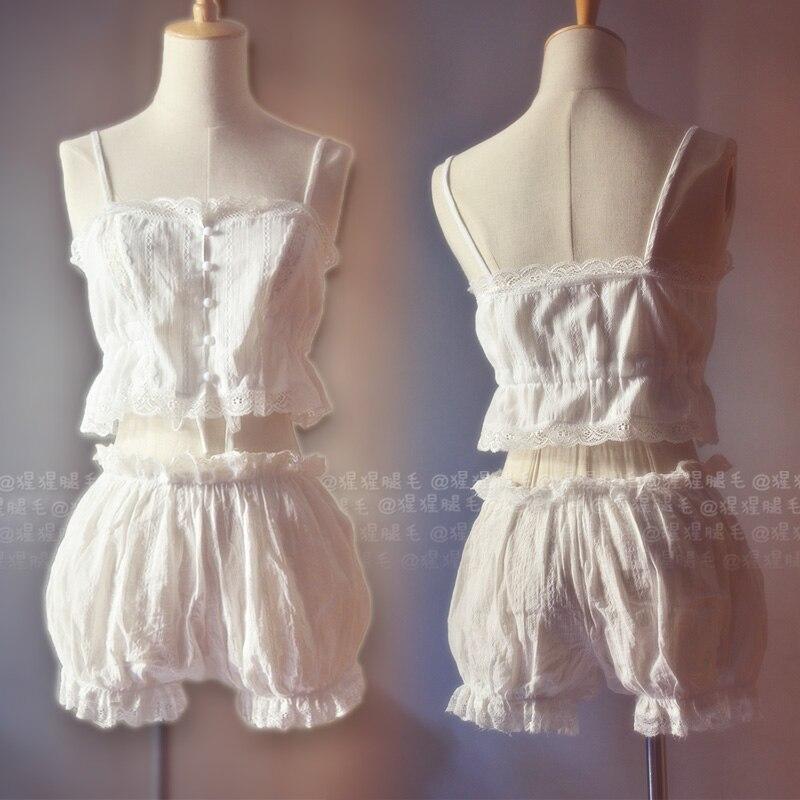 Summer Sexy Cute Women's Lace Trim Suspender Camisoles & Pumpkin Pants 2PCS   Pajamas     Set   Lolia Sleepwear Underwaer   Set   Homewear