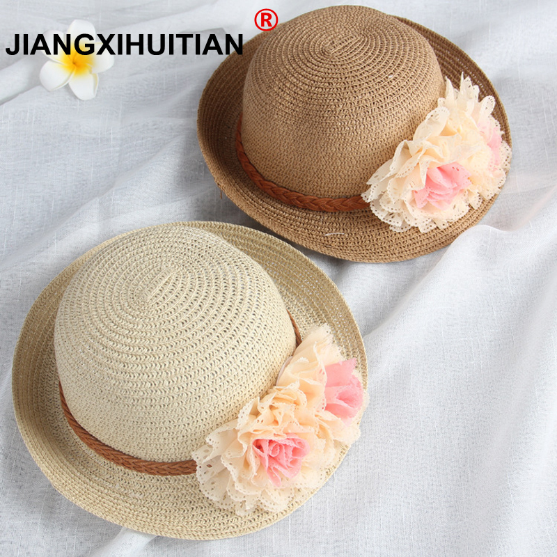 Wholesale Summer Kids Floral Straw Hats Fedora Hat Children Visor Beach Sun Baby Girls Sunhat Wide Brim Floppy Panama For Girl