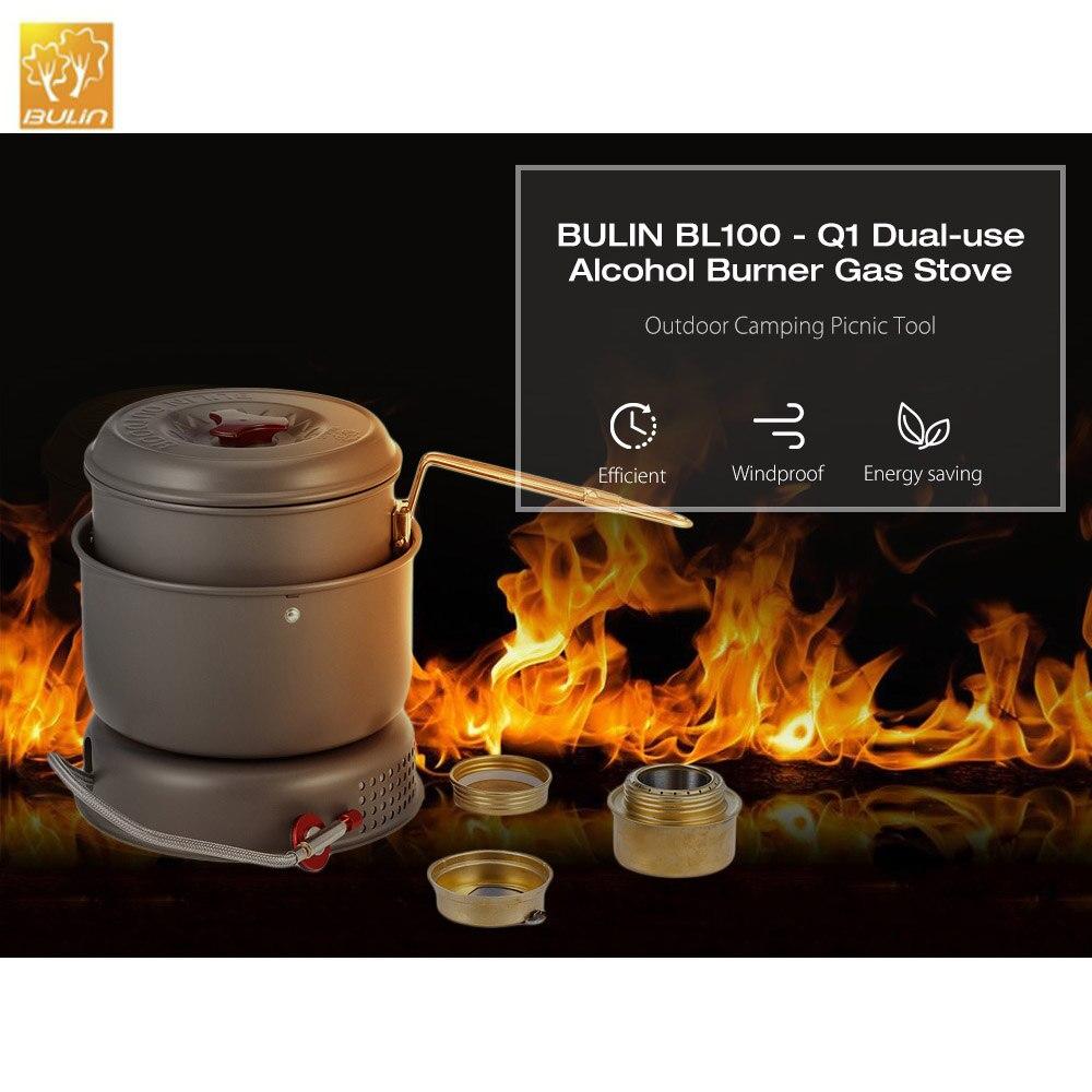 BULIN BL100-Q1 Camping en plein air pique-nique double usage alcool brûleur cuisinière à gaz pique-nique outil alcool poêle à gaz-brûleur coupe-vent poêle