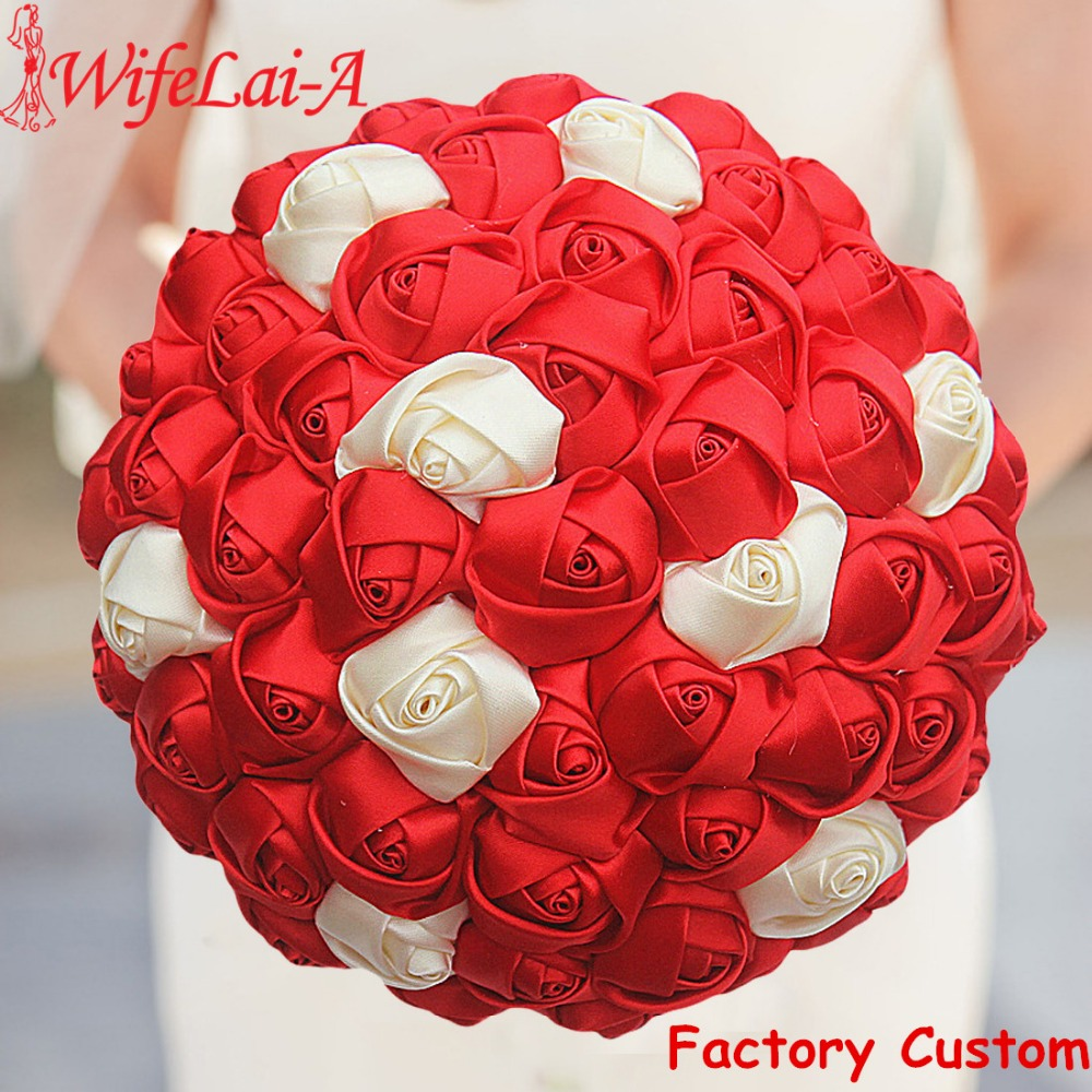 WifeLai-A Best Price Satin Ribbon Rose Flower Wedding Bouquets Bridal Bouquet Flower Red Ivory Boque Noiva Custom W223-16