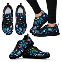 WHEREISART Women Flats Shoes Surgeon Pattern Woman Sneakers Lace up Comfortable Doctor Nurse Shoes Girls Zapatos Mujer Black