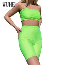 WUHE Green 2 Piece Set Strapless Top and Short Pants Sexy Off Shoulder Sleeveless Casual Jumpsuit Summer Bodycon Party Playsuit