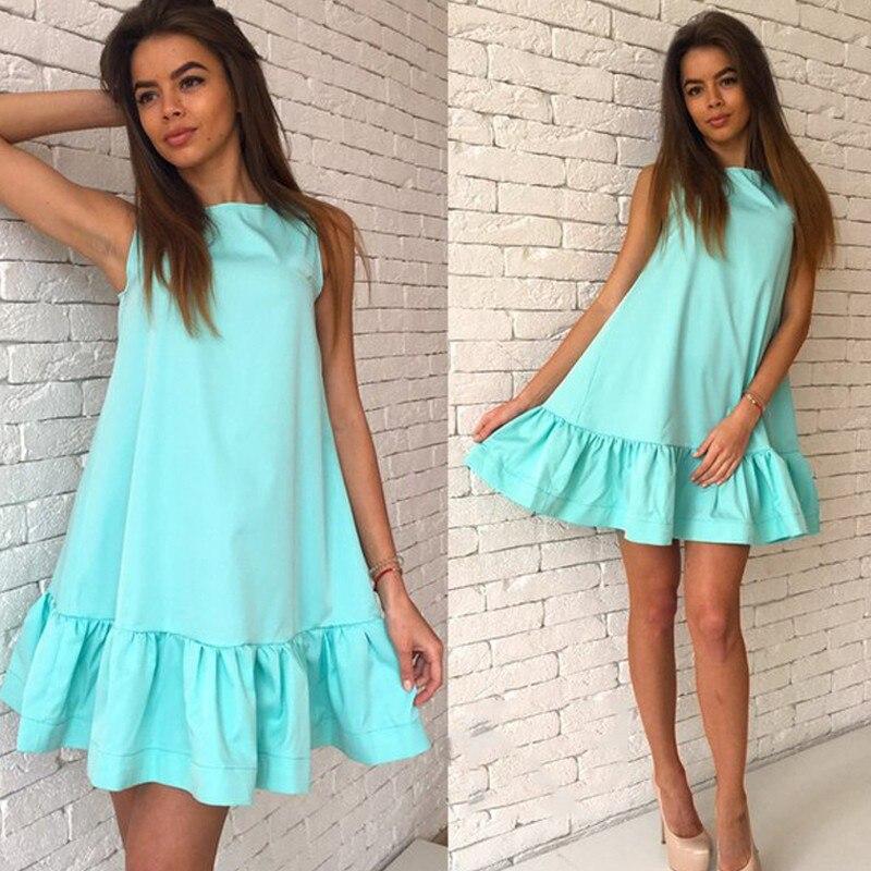 Susi&Rita Ruffles Sundress Summer Dress Casual Sleeveless Solid A-line Beach dress Loose Women Mini Desses Robe Female