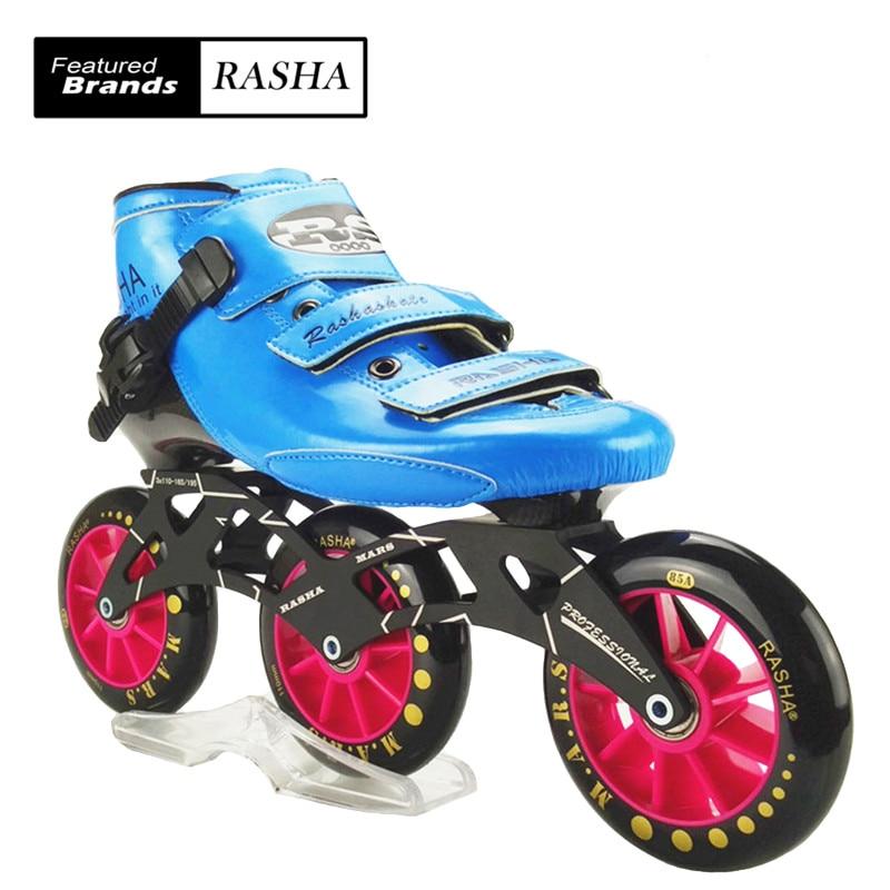 Prix pour RASHA MARS vitesse inline chaussures de patinage BLEU patins à roulettes inline vitesse patins 3 110mm roues inline skate chaussures