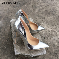 Veowalk Shiny Sexy Patern Extreme High Heels Stiletto Thin Heeled Pointed Toe Party Bridal Pumps wedding Bride shoes Silver Gold