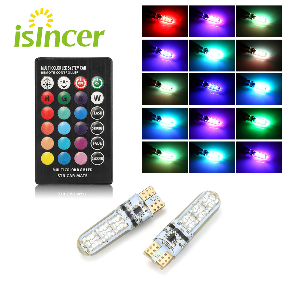 2PCS Car RGB LED 12V T10 LED RGB 5050 6SMD Remote Controller Reading Universal Wedge Light Signal Lamp Car Accessories Car Light
