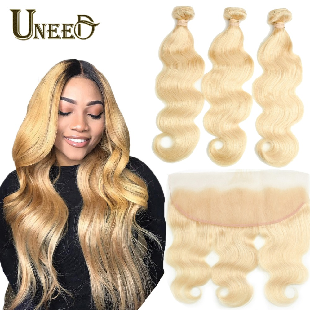 Uneed 613 Body Wave Bundles With Frontal Remy Human Hair Peruvian Blonde Bundles With Frontal 3