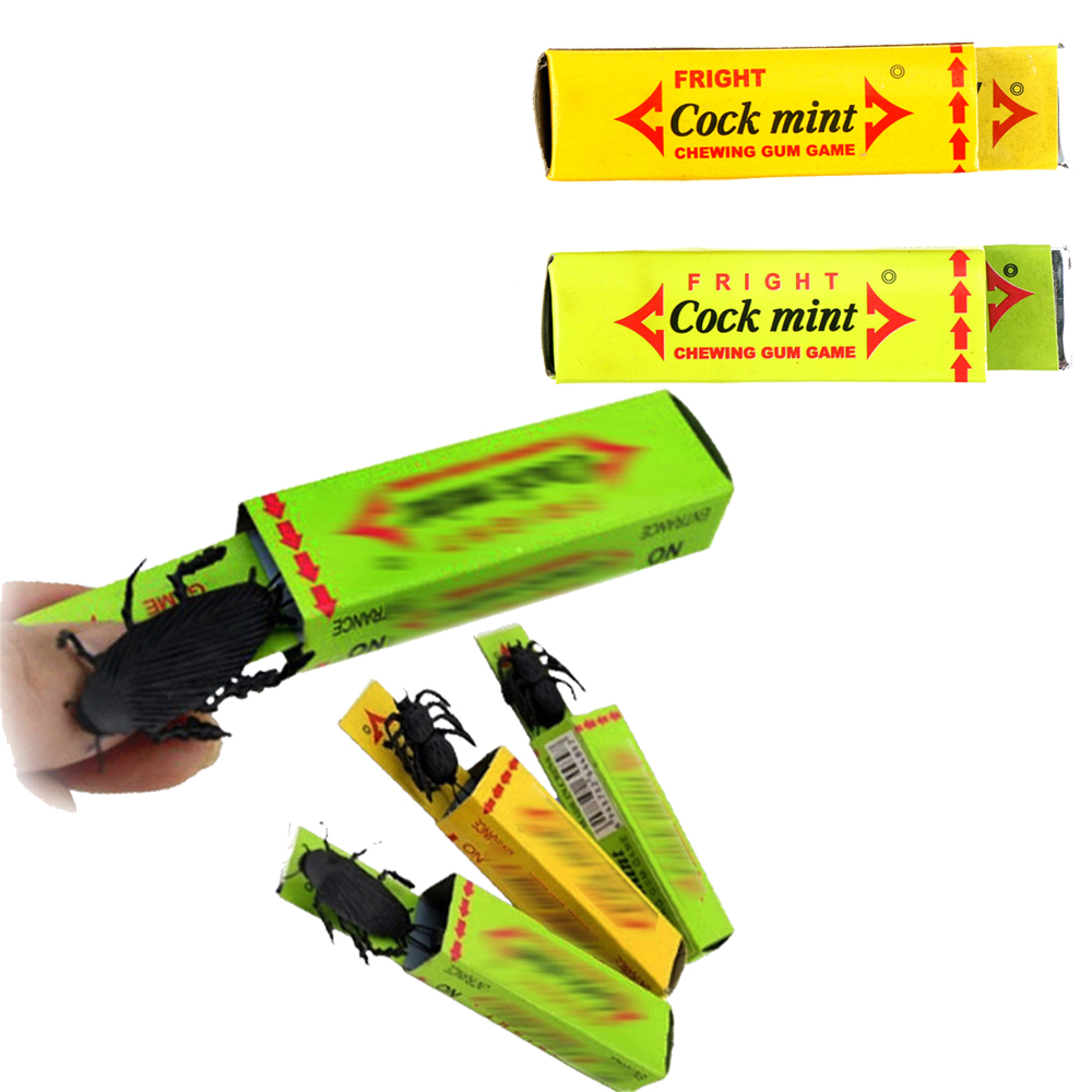 1PCS Novelty April Fool's Day Spoof Person Funny Gadgets Tricky Toys Surprised Cockroaches Gum Shock Party Favors