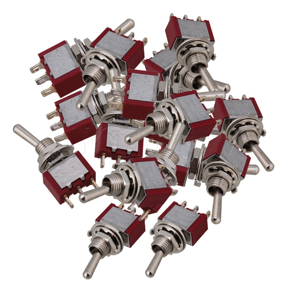 Yibuy 20pcs AC 125V/5A 250V/3A ON ON SPDT Toggle Switches 2 Pisition Red kn3d 103 ac 12v 25a 3 pins on off on 3 ways 1p2t spdt toggle switch replacement