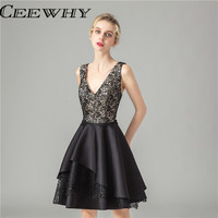 Robe De Soire Little Black Dress Elegant Lace Formal Dress V Neck Cocktail Dresses Women 2019 Prom Gowns Homecoming Dresses Mini
