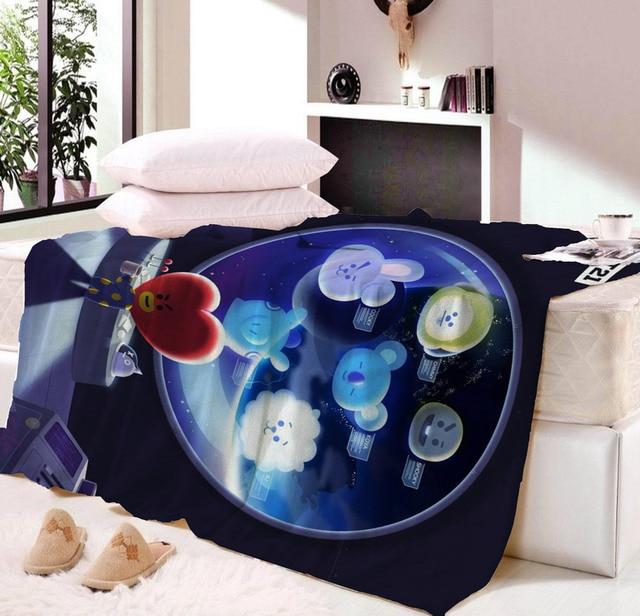 US $15 65 49% OFF|New Kpop Home BTS Bangtan Boys BT21 HALLOWEEN blanket  Cute Q Version Cartoon TATA COOKY CHIMMY Plush Print Nap Blanket-in  Blankets