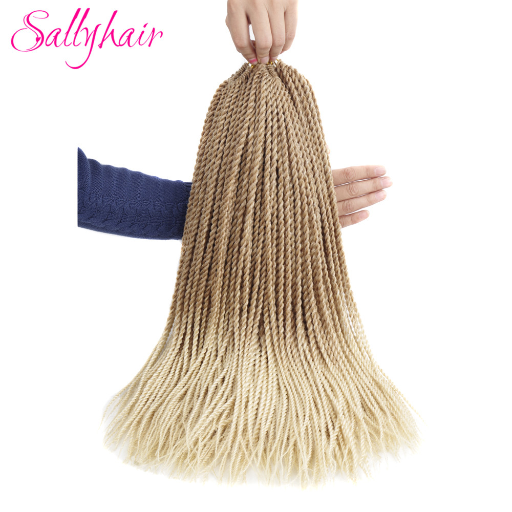 Sallyhair Thin Senegalese Crochet Twist Braids 30strands/pack 1 pack 14inch 18inch Blonde Color Ombre Synthetic Braiding Hair(China)