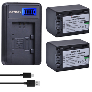 Batmax 2pcs 2500mAh NP-FV70 NP FV70 NPFV70 battery+LCD USB Charger for Sony NP-FV50 FV30 HDR-CX230 HDR-CX150E HDR-CX170 CX300 Z1