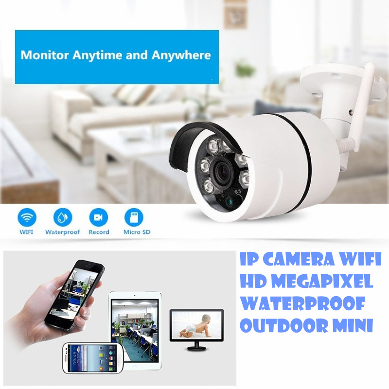 Wireless IP Camera 720P HD wifi ourdoor waterproof  Mega P2P Alarm Onvif CCTV surveillance video recorder system support sd card bw p2p cctv ip camera wifi wireless hd 720p onvif rotatable surveillance security camera cctv automatic sensor detector alarm