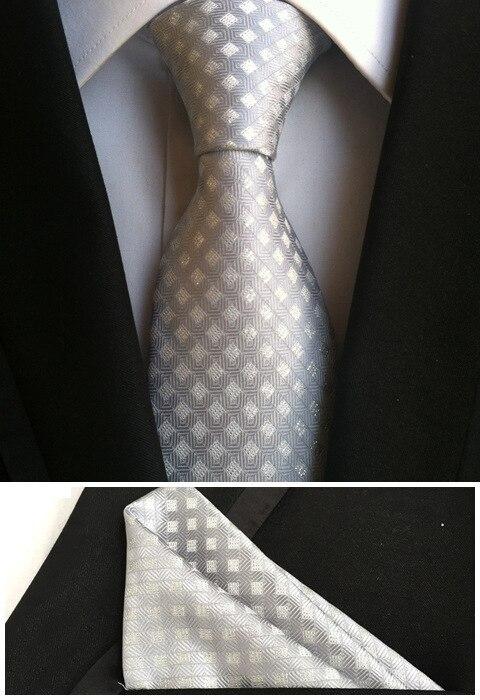 Джентльменские галстуки Набор 8 см галстук пледы сетки Gravata с тканым карманом квадрат для встречи