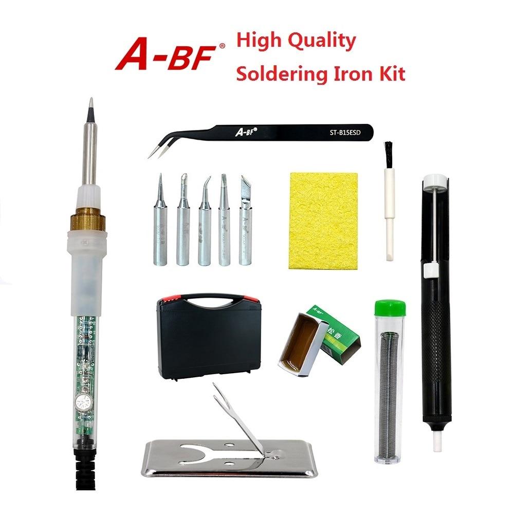 BF836 trasparente 60 W saldatore temperatura regolabile saldatore kit 220 V 110 V con punte di saldatura pinzette punta cleaner