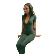 Womens Jumpsuit Polyester 2016 winter style women deep v neck jumpsuit Brand new long pants jumpsuits Green overall women