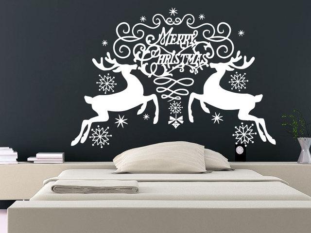 Muurstickers vrolijk kerst sneeuwvlokken rendier kerst decoratie